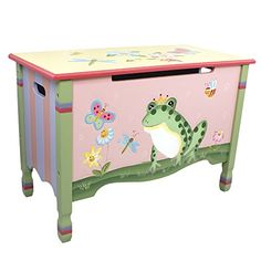 Fantasy Fields  Magic Garden Thematic Kids Wooden Toy Chest with Safety Hinges  Imagination Inspiring Hand Crafted  Hand Painted Details   NonToxic Lead Free Waterbased Paint * Learn more by visiting the image link.Note:It is affiliate link to Amazon.