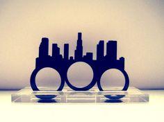 Los Angeles Skyline Three Finger Ring. $13.00, via Etsy.
