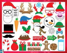 Your place to buy and sell all things handmade Holiday Canvas, Photo Booth Props, Digital Stamps, Woodland Animals, Christmas Art, Clip Art, Potato Heads, A4 Size, Letter Size