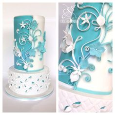 White & Tiffany wedding - Cake by Cecilia Campana Tiffany Wedding Cakes, Tiffany Cakes, Cake Design Inspiration, Wedding Cake Inspiration, Gorgeous Cakes, Pretty Cakes, Fondant Cakes, Cupcake Cakes, Quilling Cake