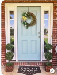 How to Pick the Perfect Color Paint for Your Front Door   Emmy Lou Styles Exterior Door Colors, Front Door Paint Colors, Painted Front Doors, Exterior Doors, Exterior Paint, Blue Front Doors, Front Door Trims, Best Front Door Colors, Front Doors With Windows