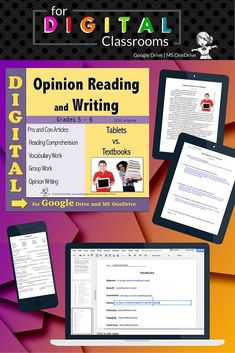 Go Paperless! Google Drive and Microsoft One Drive Compatible Opinion writing starts with reading about both sides of the argument.  This digital file contains two original informational non-fiction articles, one pro and one con on the topic of whether tablets should replace textbooks in schools. Multiple skills are covered, including close reading, analyzing two texts on the same topic, and opinion writing. Google Drive teacher and student instructions included. $