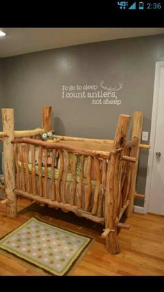 Log Cabin Nursery-look at text on wall-absolutly wonderful