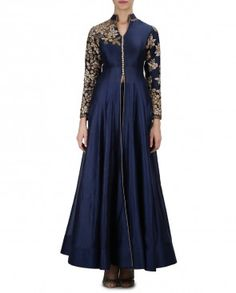 Navy Blue Floral Embroidered Kurta Palazzo Suit