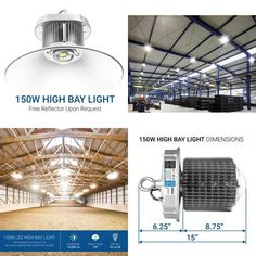 150W LED High Bay Light Commercial Warehouse Industrial Factory Shed Lamp 277V #LightCommercial