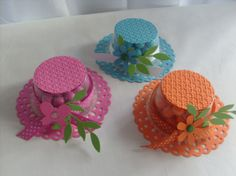 Mother's Day Hat - Bonnet Favor:  These are made with 2 oz. clear cups w/ lids, doily die-cut, cardstock, and embellishments.