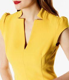 Buy Black Karen Millen V-Neck Sleeveless Dress from our Women's Dresses range at John Lewis & Partners. Chudithar Neck Designs, Neck Designs For Suits, Sleeves Designs For Dresses, Neckline Designs, Dress Neck Designs, Salwar Kameez Neck Designs, Latest Salwar Kameez, Kurta Neck Design, Kurta Designs
