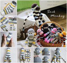 DIY Sock Monkey (these are actually CUTE sock  monkeys)
