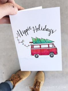 Items similar to Hippie Holidays Card Hand Lettered Watercolor Print / Christmas / Christmas gifts / Hippie Decor / Etsy Fresh / VW Bus / VW Bus Decor on Etsy – Christmas DIY Holiday Cards Printable Christmas Cards, Christmas Greeting Cards, Holiday Cards, Merry Christmas Greetings, Christmas Christmas, Christmas Crafts, Christmas Items, Watercolor Christmas Cards, Christmas Drawing