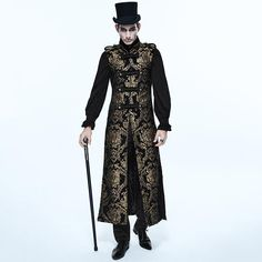 Devil Fashion Long Coat With Floral Pattern