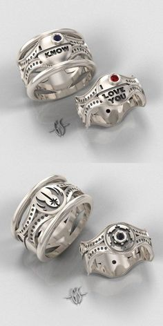 Star Wars Wedding Rings!  Jody so wants us to get the bottom ones (w/Rebel design)!  I will need a bit more convincing... :)~