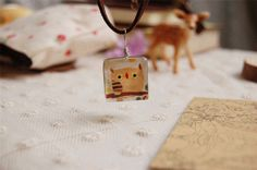 Cute Owl Handmade Lampwork Doublesided Square Glass by ZJJewelry, $8.90