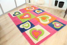 Παιδικά χαλιά Royal Kids - Royal Carpet. Μπλε - λαχανί - ροζ καρδούλες