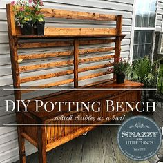 If you spend a long time planting flowers, herbs, and potted vegetables to fill your back and front porch, having a potting bench will make your job easier. Potting Bench Bar, Potting Station, Potting Tables, Potting Sheds, Outdoor Projects, Wood Projects, Outdoor Decor, Outdoor Living, Outdoor Bars