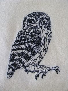 Small owl embroidered cushion cover by Jatzcrackerstudio on Etsy, $60.00
