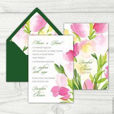 """Купить Приглашение на свадьбу """"Тюльпаны"""" - зеленый, приглашения на свадьбу, пригласительный, пригласительные открытки, приглашение"""
