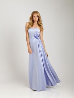 Slinky Flat Simple Design Column Flower Dark Blue Satin Floor Length Bridesmaid Dress