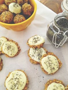 Raw delicious healthy lemon poppy seed cookies with lemon frosting