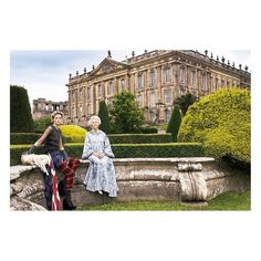 """Captured in front of @chatsworthofficial in 2006, Deborah Devonshire and her granddaughter Stella Tennant by @mariotestino. The image inspired the #GucciCruise17 campaign shot at the stately home, starring Vanessa Redgrave. Chatsworth will open its exhibition """"House Style: Five Centuries of Fashion at Chatsworth"""" in March 2017. #ChatsworthHouseStyle #GucciPlaces"""