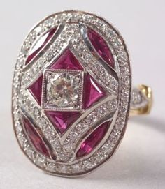 Art Deco Style 14kt White and Yellow Gold, Ruby, and Diamond Oval Domed Ring
