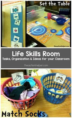 Skills Room Tips & Tricks for setting up a Life Skills Room to help teach students with Autism important life skills & vocational taskts! From Setting Sun Setting Sun may refer to: Life Skills Lessons, Life Skills Activities, Life Skills Classroom, Teaching Life Skills, Dementia Activities, Autism Classroom, Special Education Classroom, Classroom Activities, Preschool Life Skills