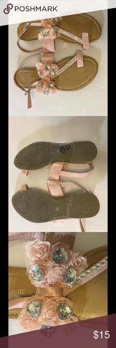 Madeleine Stuart Pink Crystal Embellished Sandals Pink tulle and clear crystals make this thong style sandal extra girly. Adjustable ankle strap. Madeline Stuart Shoes Sandals