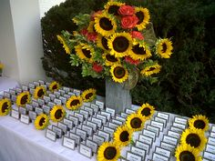 could do simple place cards but use sunflowers for accents like they do here