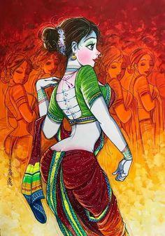 Indian Women Painting, Indian Art Paintings, Saree Painting Designs, Comic Art Girls, Fantasy Art Women, India Art, Art Reference Poses, Figure Painting, Aesthetic Art