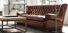 family room or study sofa (potentially different color leather) - with or without nailheads