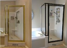 UPDATE: It's been 6 months, and it still looks perfect!   (How to spray paint a brass shower frame.) Disco is out - so is the gold shower frame.