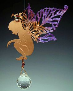 Emily Raspberry copper #fairy #holiday ornament with rainbow prism