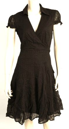 Victorias Secret Moda Sz-6 BLACK COTTON POINTELLE FAUX WRAP TIE DRESS #MODAINTERNATIONALVictoriasSecretCatalog #LittleBlackDress