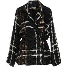 Ella Luna Blazer (21.730 RUB) ❤ liked on Polyvore featuring outerwear, jackets, blazers, black, plaid jacket, multi pocket jacket, long sleeve jacket, ella luna and plaid tweed jacket