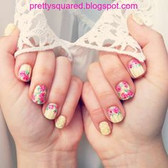 Pretty (Squared): Spring Floral Nails - http://prettysquared.blogspot.com/