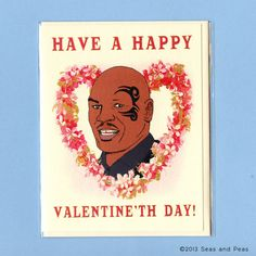 MIKE TYSON VALENTINE Card  - Happy Valentine'th Day - Funny Valentine Card - Original Illustration