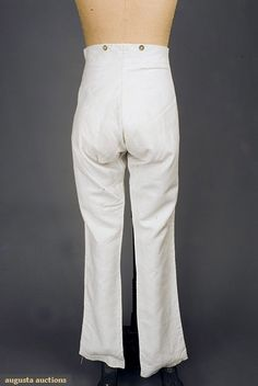 Augusta Auctions...GENT'S LINEN TROUSERS, AMERICA, 1830-1850...White tabby linen, brass buttons with inset rope pattern at front buttoned placket, on pocket flaps, inside leg hem and at waist, long slim legs, all hand stitched, (small wear spot in seat