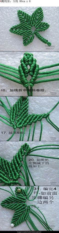 macrame maple leaf - detailed photo tutorial: