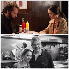 """Winona Ryder and Peter Sarsgaard in a scene shot at Lexington Candyshop in NYC for the upcoming 2015 film """"Experimenter"""". I guess the guy in the bottom picture with Winona must be the owner. Note to self: Visit the place when in NYC."""