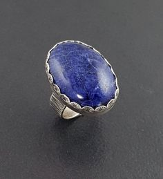 Sodalite Ring, size 6.25 ring, blue ring, sterling silver, blue sodalite ring, sterling silver ring, michele grady,statement ring,large ring by MicheleGradyDesigns on Etsy