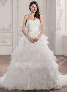 Ball-Gown Sweetheart Chapel Train Organza Satin Wedding Dress With Ruffle Flower(s) (002056950) - JJsHouse