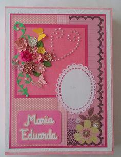Caixa e livro de assinatura em cartonagem e scrapbook. Contem 50 folhas internas e somente as 3 primeiras são decoradas