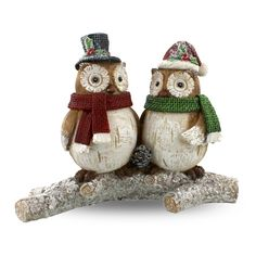 Two Owls on Branch Figurine  // Christmas 2016 at the Owl Barn
