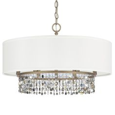 Shell & Crystal Drum Shade Chandelier - Shades of Light