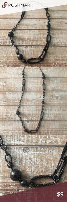 PEWTER Black Charcoal Mixed Bead Chain Super cute, but cleaning out my jewelry Jewelry Necklaces
