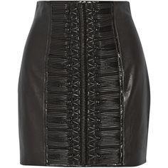 Balmain Embroidered leather mini skirt (€1.150) ❤ liked on Polyvore featuring skirts, mini skirts, black, real leather skirt, embroidered skirt, leather miniskirt, stretchy skirt and stretch skirts