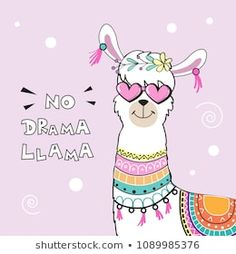 cute cartoon llama w