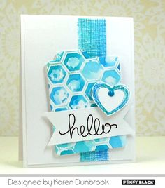 handmade greeting card ... white and turquoise .. artistic look with bunching of stamped elements ... luv the stamps with look of linen weave and multiple sketch lines ... watercolor over stencil ... delightful! ... Penny Black