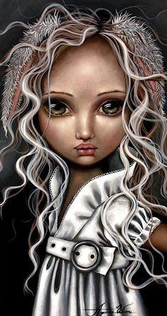 Art Print: Timide Lapin by Angelina Wrona : John Kenn, Lapin Art, Pop Surrealism, Gothic Art, Stretched Canvas Prints, Big Eyes, Cute Art, Fantasy Art, Anime Fantasy