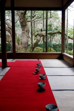 Tea room at Hosen-in temple, Kyoto, Japan  .