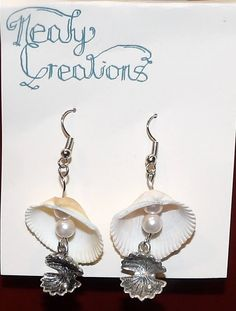 Handmade shell and pearl earrings by NealyCreations on Etsy